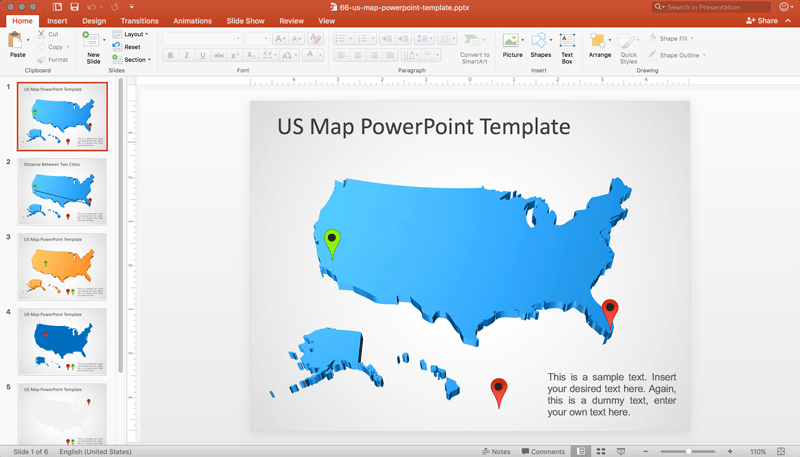 Best Templates With Map Of United States Templatesvip - Us map editable in powerpoint