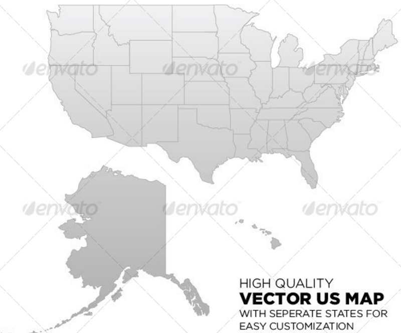 Best Templates With Map Of United States Templatesvip - Black and white map of us